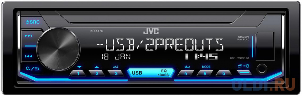 Автомагнитола JVC KD-X176 1DIN 4x50Вт