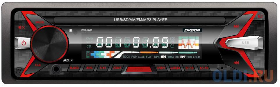 Автомагнитола Digma DCR-400R USB MP3 FM 1DIN 4x45Вт черный фото