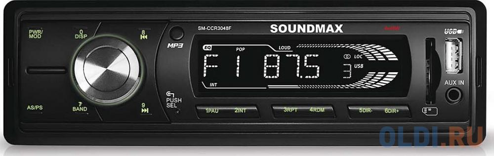 Автомагнитола Soundmax SM-CCR3048F бездисковая USB MP3 FM RDS SD MMC 1DIN 4x45Вт черный автомагнитола phantom dv 7023 usb sd