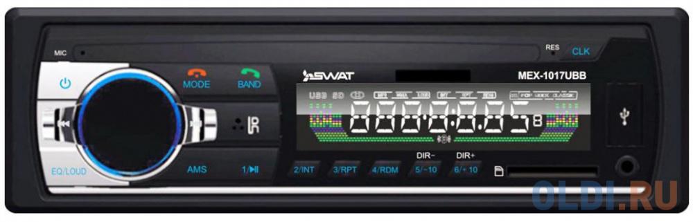 Фото - Автомагнитола Swat MEX-1017UBB 1DIN 4x50Вт магнитола swat mex 1021uba