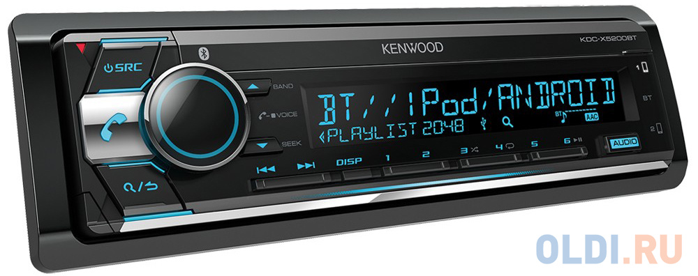 Автомагнитола Kenwood KDC-X5200BT USB MP3 CD FM RDS 1DIN 4х50Вт черный kenwood kdc x5200bt