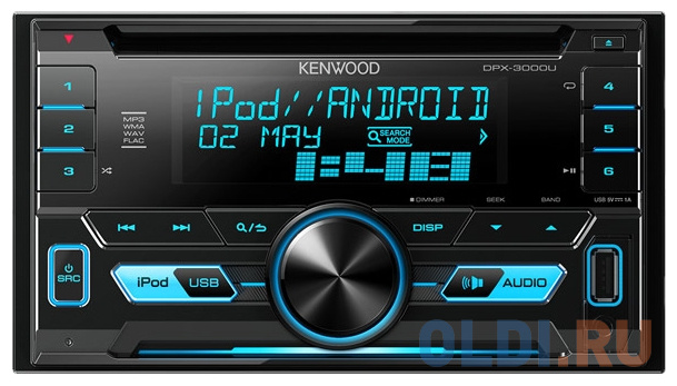 Автомагнитола Kenwood DPX-3000U USB MP3 CD FM RDS 2DIN 4х50Вт пульт ДУ черный.