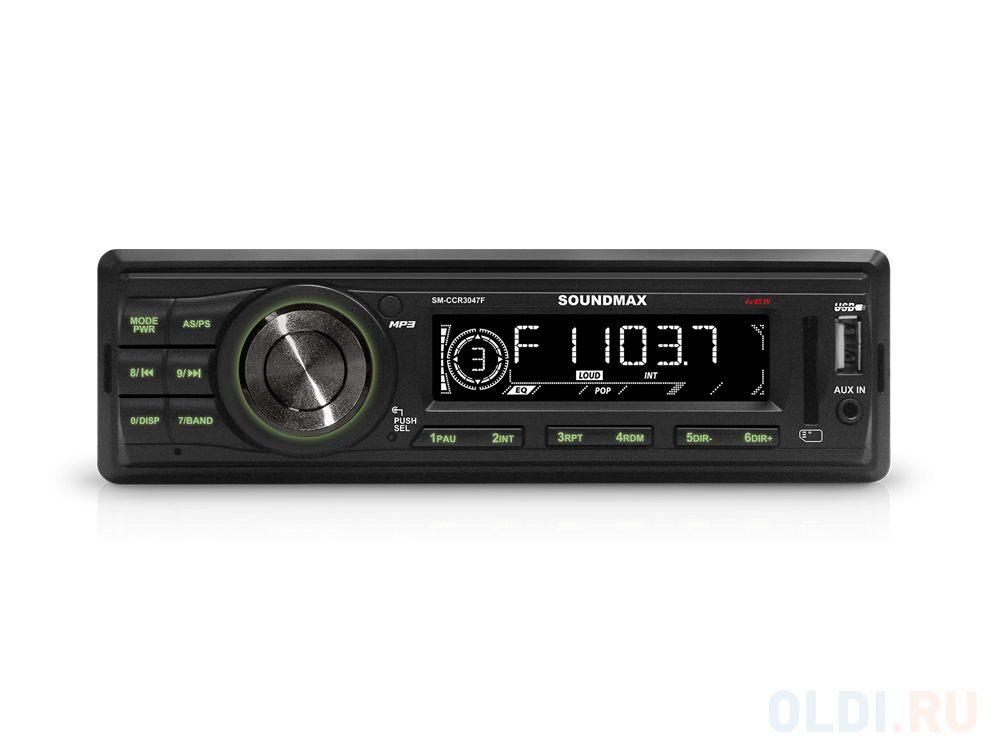 Автомагнитола Soundmax SM-CCR3047F USB MP3 FM RDS SD MMC 1DIN 4x45Вт черный автомагнитола phantom dv 7023 usb sd