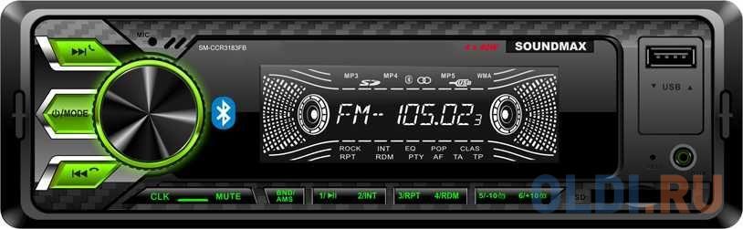 Автомагнитола Soundmax SM-CCR3183FB 1DIN 4x40Вт