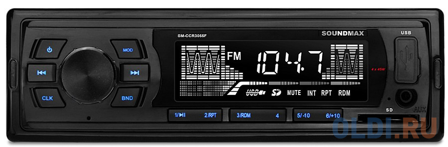 Автомагнитола Soundmax SM-CCR3055F USB MP3 FM SD 1DIN 4x45Вт черный автомагнитола phantom dv 7023 usb sd