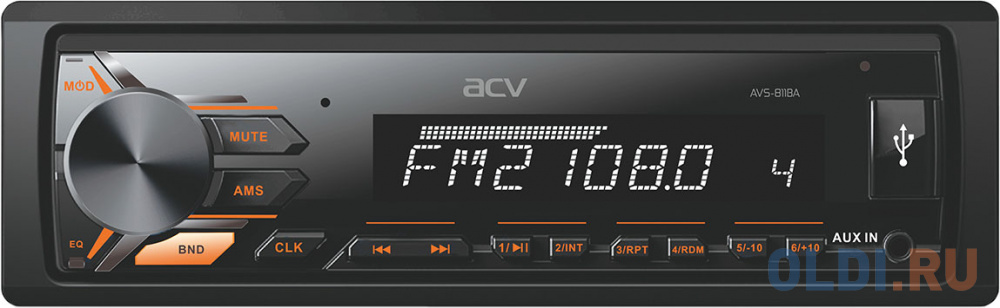 Автомагнитола ACV AVS-811BA 1DIN 4x50Вт автомагнитола acv avs 812r 1din 4x50вт