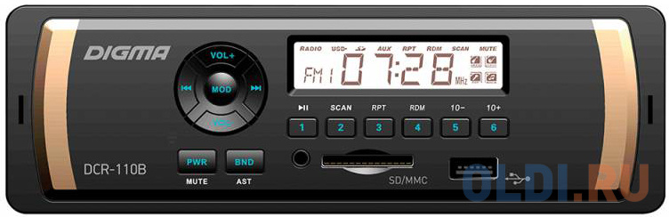 Автомагнитола Digma DCR-110B USB MP3 FM 1DIN 4x45Вт черный