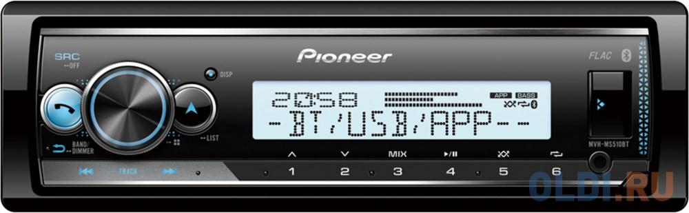 Автомагнитола Pioneer MVH-MS510BT 1DIN 4x50Вт автомагнитола pioneer mvh s110ub 1din 4x50вт