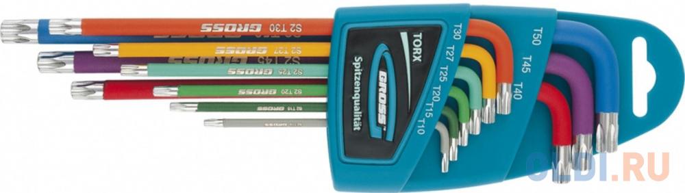Набор ключей GROSS 16402  имбусовых torx-tt 9шт: t10-t50 магнит s2 экстра-длин. хром/краска 9шт..