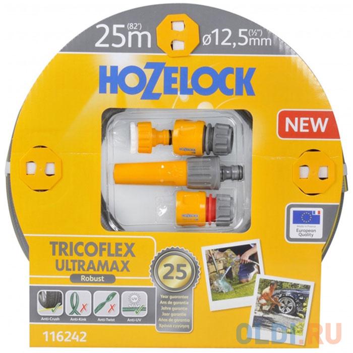 Набор HOZELOCK 116242 TRICOFLEX ULTRAMAX STARTER SET ДЛЯ ПОЛИВА 12.5 MM 25 M шланг hozelock 116242 tricoflex ultramax 1 2 25m