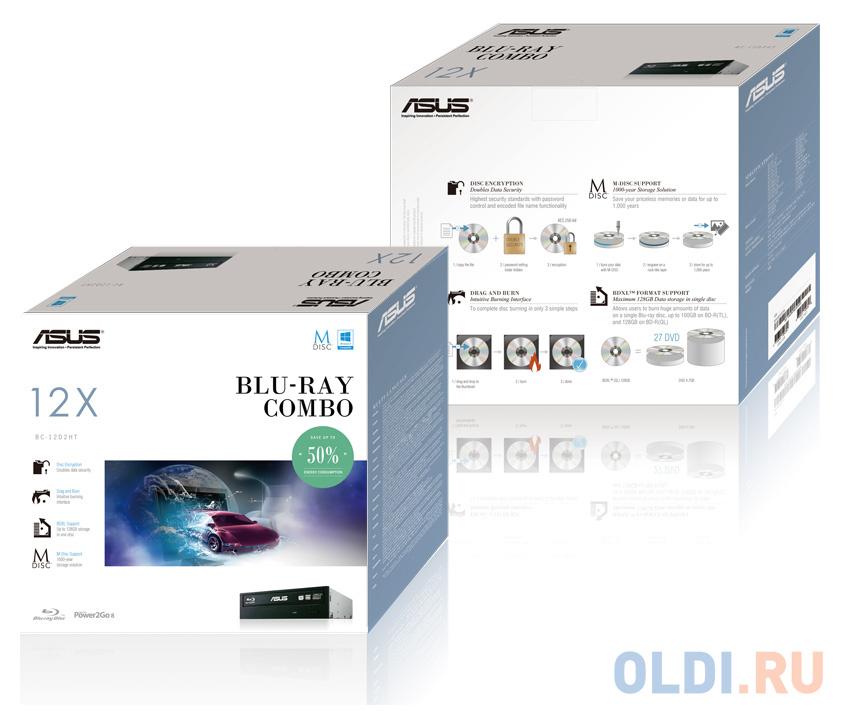 Привод для ПК Blu-ray ASUS BC-12D2HT SATA черный Retail привод для пк blu ray asus bc 12d2ht blk b as sata черный oem