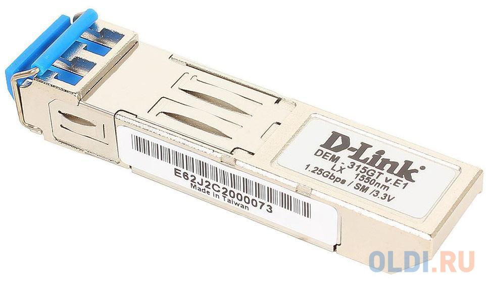 Фото - Модуль D-Link DEM-315GT/E1A SFP-трансивер с 1 портом 1000Base-ZX для одномодового оптического кабеля (до 80 км) d link 211 a1a sfp трансивер с 1 портом 100base fx для многомодового оптического кабеля до 2 км