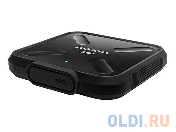 Внешний жесткий диск 256Gb SSD Adata SD700 Series Black (USB3.1, 440/430Mbs, 3D TLC, 80х15х80mm, IP68, 100g) adata sd700 series 256gb asd700 256gu31 cbk черный