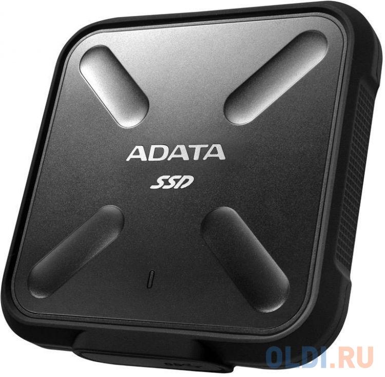Внешний жесткий диск 1Tb SSD Adata SD700 Series ASD700-1TU31-CBK черный (USB3.1, 440/430Mbs, 3D TLC, 84х14х84mm, 80g) adata sd700 series 256gb asd700 256gu31 cbk черный