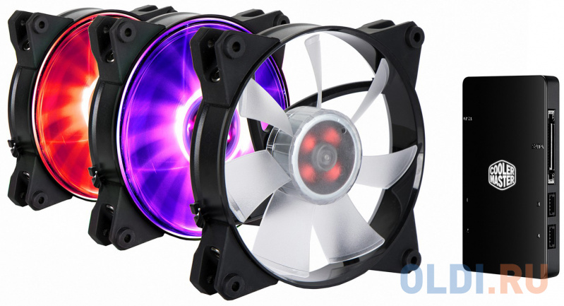 Cooler Master MasterFan Pro 120 Air Flow, 120mm, 4-Pin (PWM), RGB, 3 pcs + MFP RGB LED Controller вентилятор cooler master masterfan pro 120 air balance mfy b2dn 13npc r1 rtl