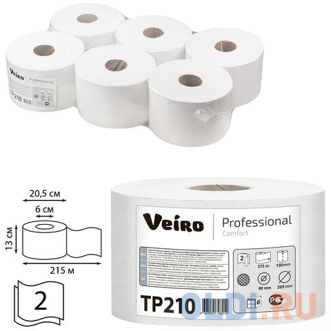 Бумага туалетная 215 м, VEIRO (Система T8), комплект 6 шт., с центральной вытяжкой, Comfort, 2-слойная, ТР210 протирочная бумага tork плюс с центральной вытяжкой 2 слоя 125 м коробка 6 шт