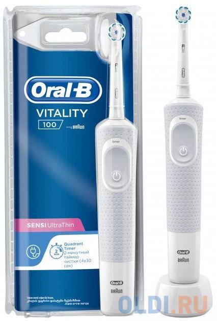 Зубная щетка электрическая Oral-B Vitality 3D White 100 белый зубная щетка электрическая braun oral b vitality 3d white luxe d12 513w