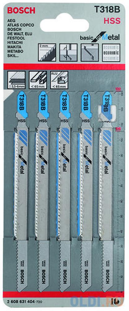 Лобзиковая пилка Bosch T 318 В HSS 5шт 2608631404 лобзиковая пилка bosch t 101 bf bim 5шт 2608634234