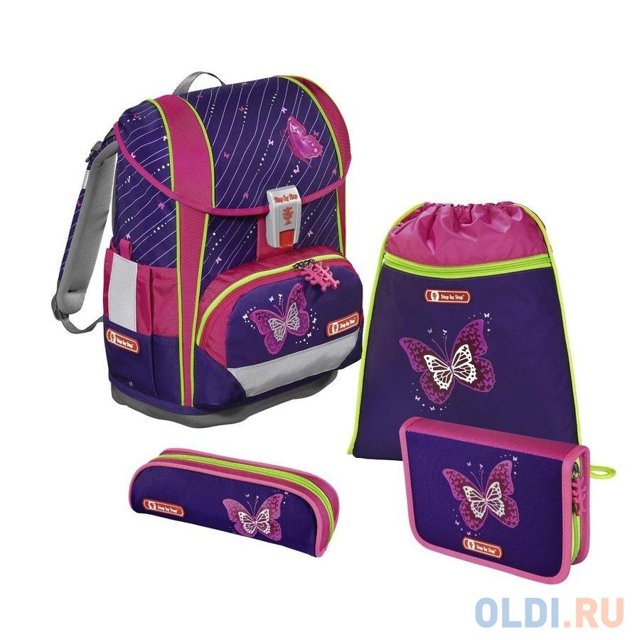 Ранец Step By Step Light2 Shiny Butterfly фиолетовый/розовый 4 предмета недорого