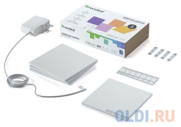 Картинка для Светодиодный светильник Nanoleaf Canvas Smarter Kits. Состоит из 4 независимых светодиодных панелей.
