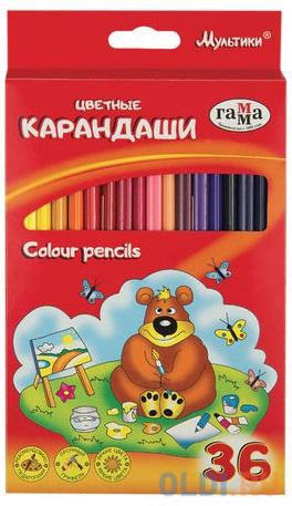 Набор цветных карандашей Гамма Мультики 36 шт 174 мм.
