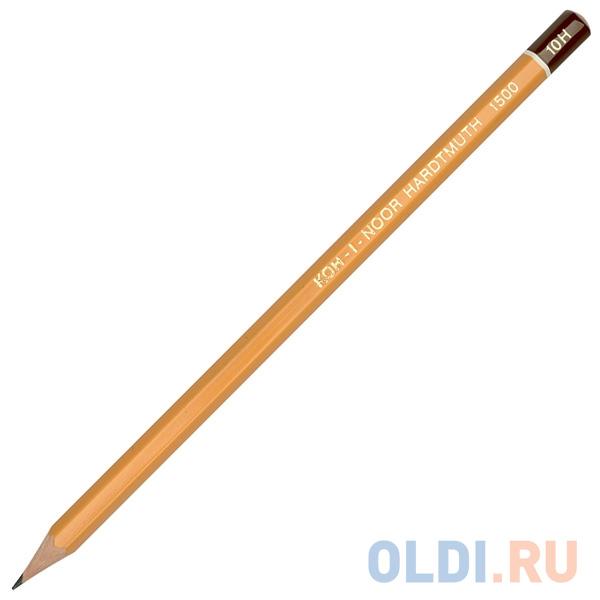 Карандаш чернографитный Koh-i-Noor 1500 10H деревянный лакированный корпус 1500 10H карандаш чернографитный koh i noor 1500 5h деревянный лакированный корпус 1500 5h