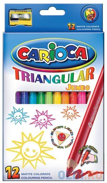 Набор карандашей цветных CARIOCA TRIANGULAR JUMBO, 12 цв., трехгранные, в карт. коробке набор фломастеров carioca jumbo 40 цв в картонном чемоданчике