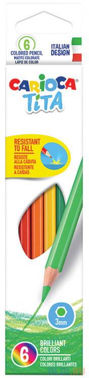Набор цветных карандашей CARIOCA TITA 6 шт 174 мм 42792 фото