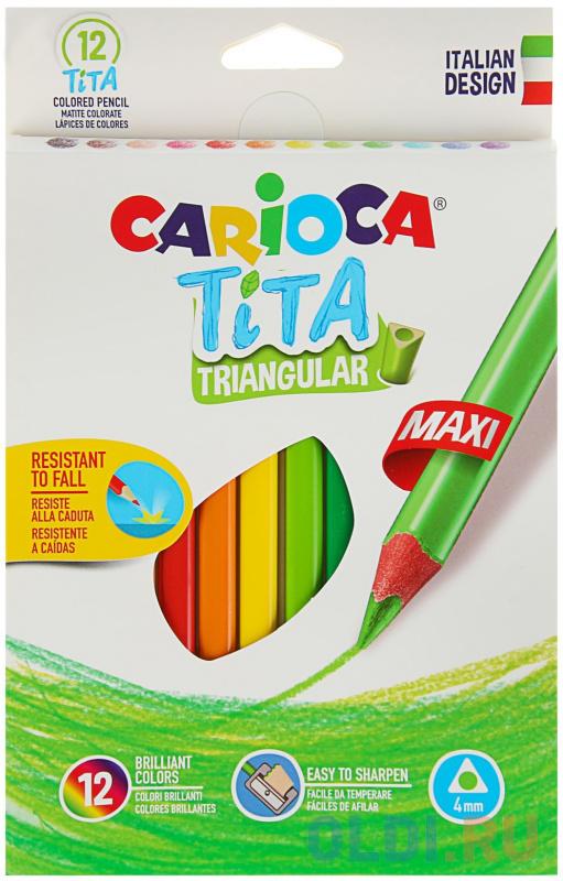 Набор крупных карандашей цветных пластиковых Carioca Tita Maxi 12 цв, в картонной коробке с европод. набор фломастеров carioca acquarell 12 цв в картонной коробке с европодвесом