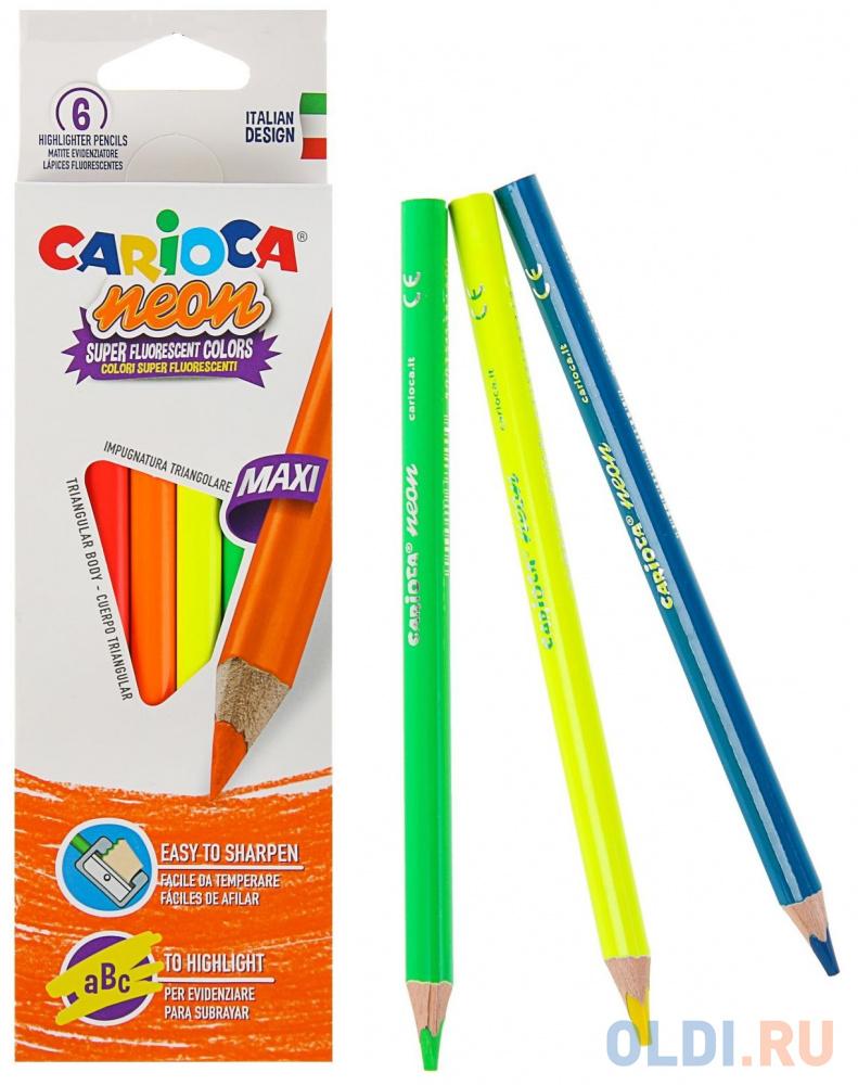 Набор карандашей-текстовыделителей деревянных Carioca Neon, 6 цветов, в картонной коробке с европод carioca набор фломастеров по текстилю carioca 6 цв в картонной коробке с европодвесом