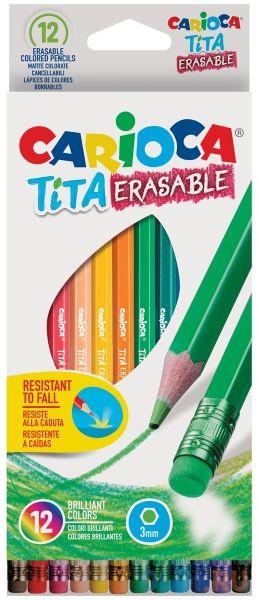 Набор карандашей цветных CARIOCA TITA ERASABLE, 12 цв., шестигранные, с европодвесом carioca набор фломастеров carioca jumbo 12 цв в картонном конверте с европодвесом