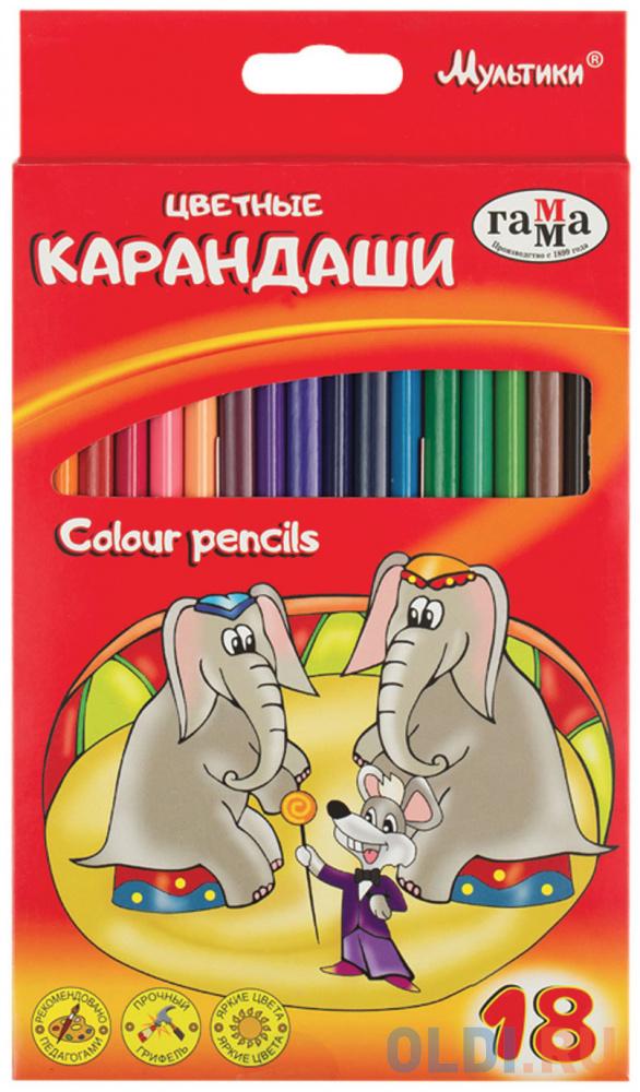 Набор цветных карандашей Гамма Мультики 18 шт 174 мм 181470 фото
