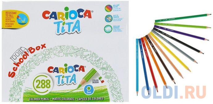 Набор карандашей цветных пластиковых Carioca Tita 288 шт (12 цветов), в картонном коробе carioca набор фломастеров carioca perfume 12 цв в картонном коробе с европодвесом