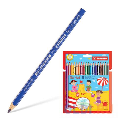 Набор цветных карандашей Stabilo Trio 203/18 18 шт утолщенные 181106 stabilo набор цветных карандашей 18 цв green colours