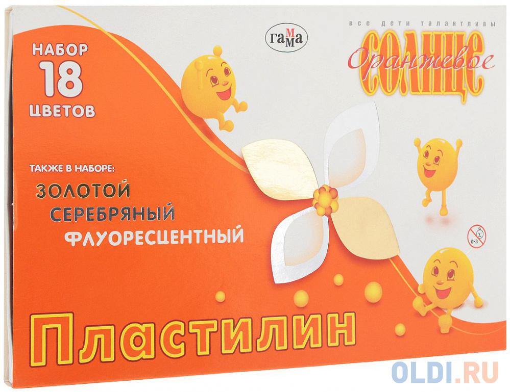 Пластилин Гамма Оранжевое солнце 18 цветов 280040.