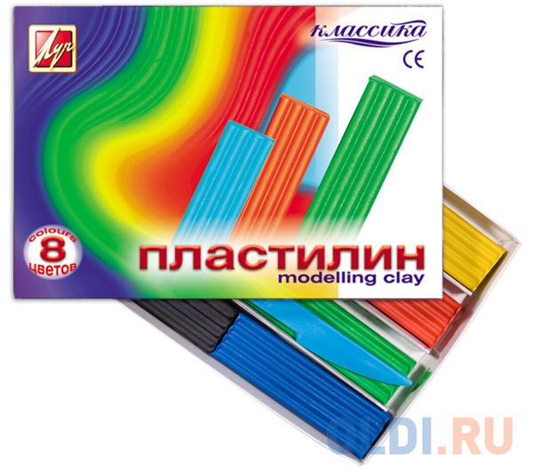 Набор пластилина Луч Классика 8 цветов 12С867-08 со стеком набор пластилина луч классика 6 цветов 12с878 08 со стеком