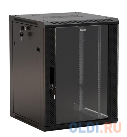 """Hyperline TWB-0966-GP-RAL9004 Шкаф настенный 19-дюймовый (19""""), 9U, 500x 600х 600мм, стеклянная дверь с перфорацией по бокам, ручка с замком, цвет черный (RAL 9004) (разобранный)"""
