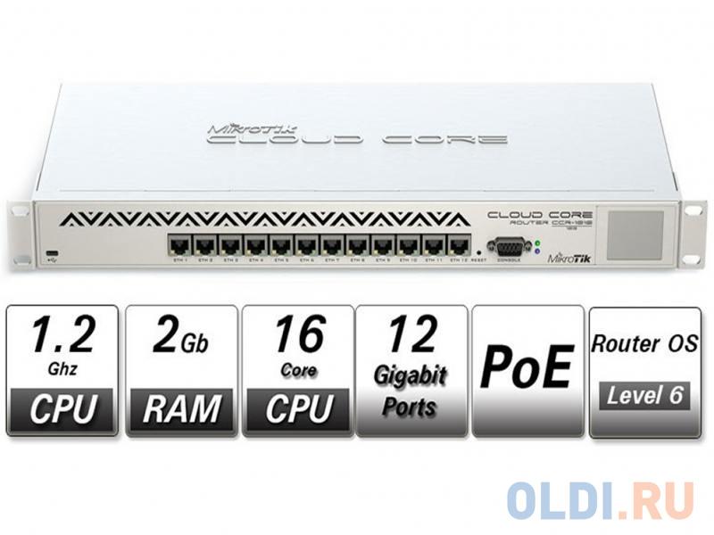 Фото - Маршрутизатор MikroTik CCR1016-12G Cloud Core Router 1016-12G with Tilera Tile-Gx16 CPU (16-cores, 1.2Ghz per core), 2GB RAM, 12xGbit LAN, RouterOS L6 ccr1036 8g 2s em r2 cloud core router 1036 8g 2s em with tilera tile gx36 cpu 36 cores 1 2ghz per core 16gb ram 2xsfp cage 8xgbit lan routeros l6 1u rackmount case dual psu lcd panel