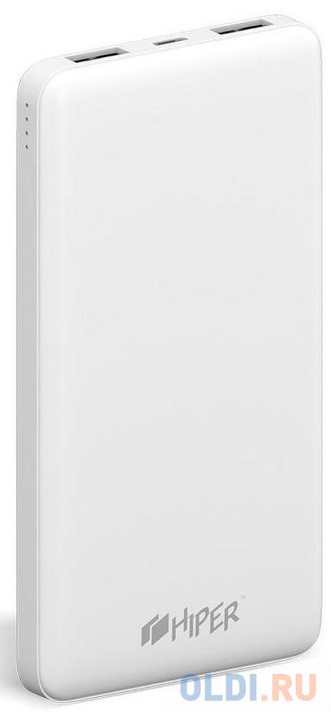 Фото - Внешний аккумулятор Power Bank 10000 мАч HIPER ST10000 WHITE белый внешний аккумулятор power torch 8000 мач глянцевый белый