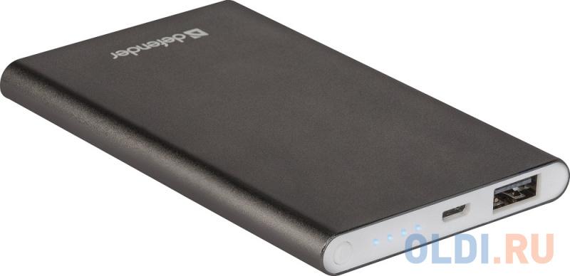 Внешний аккумулятор Power Bank 4000 мАч Defender ExtraLife темно-серый внешний аккумулятор slimbank 4000 мач