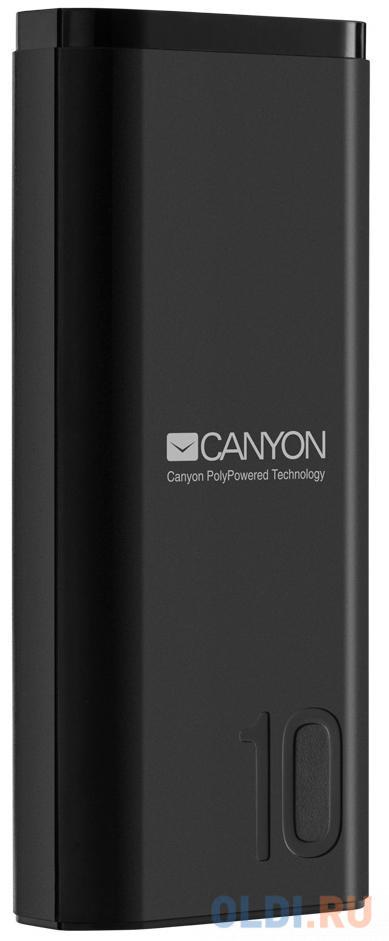 Зарядное устройство CANYON CNE-CPB010B 10000mAh Li-pol, In 5V/2A, Out 5V/2.1A, Smart IC, Черный, кабель 0.25m, зарядное устройство canyon cne cpb05b 5000mah li pol in 5v 2a out 5v 2 1a smart ic черный кабель 0 25m