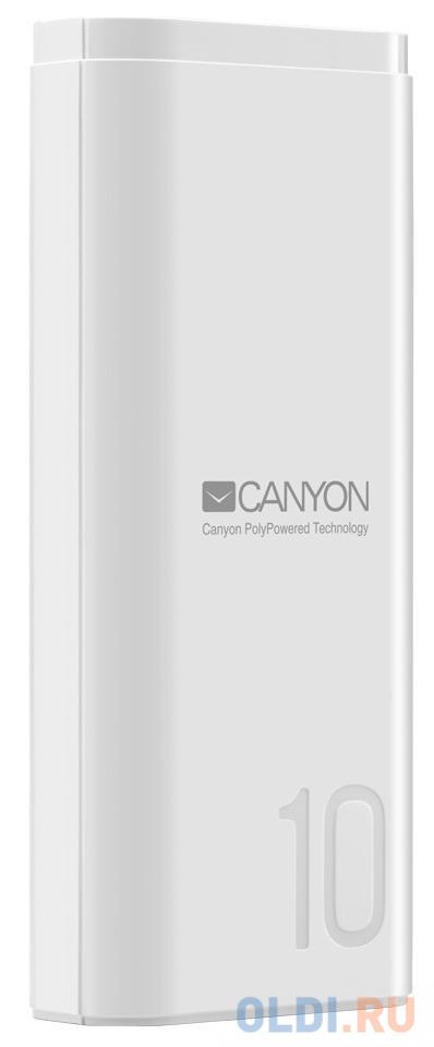 Зарядное устройство CANYON CNE-CPB010W 10000mAh Li-pol, In 5V/2A, Out 5V/2.1A, Smart IC, Белый, кабель 0.25m, зарядное устройство canyon cne cpb05b 5000mah li pol in 5v 2a out 5v 2 1a smart ic черный кабель 0 25m