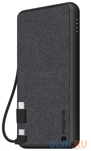 Внешний портативный аккумулятор Mophie Powerstation Plus 6k Gen 4. Емкость аккумулятора 6040 МаЧ. Встроен кабель USB на Micro USB и имеется адаптер с разъемом Lightning. Цвет черный..