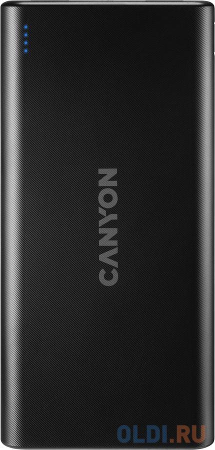 Внешний аккумулятор Power Bank 10000 мАч Canyon PB-106 черный внешний аккумулятор power bank interstep is ak pst150pdc blkb201 40000мaч черный [65362]