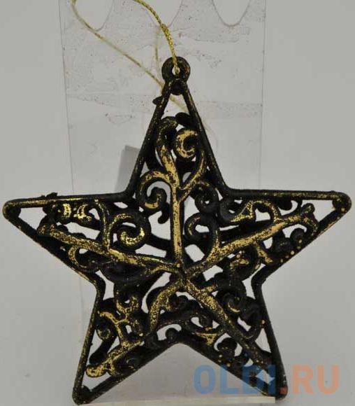 Елочные украшения Winter Wings Звезда барокко 8*8 см 1 шт черный/золотой