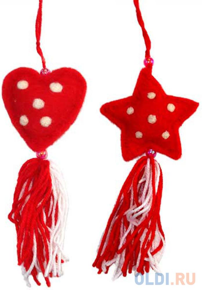 Елочные украшения Winter Wings Сердце, звезда с кисточкой 8 см 2 шт красный фетр N069746