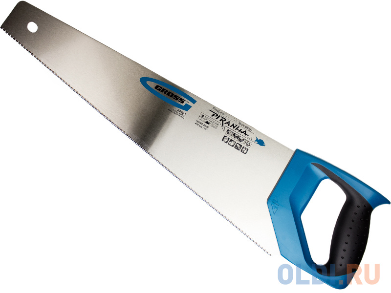 Ножовка GROSS 24103  по дереву piranha 450мм 11-12 tpi зуб - 3d каленый зуб 2-х комп. рук-ка.