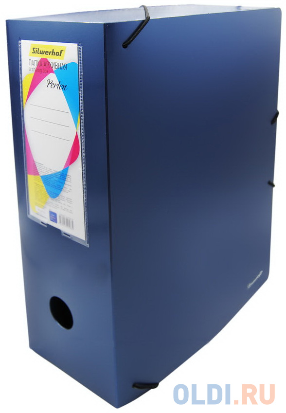 Папка архивная на резинке Silwerhof Perlen 311916-74 полипропилен 1мм корешок 120мм A4 синий металлик фото