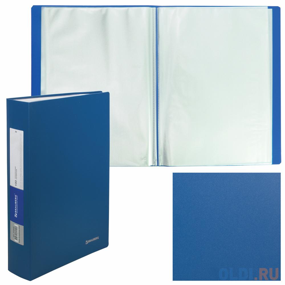 Папка 100 вкладышей BRAUBERG Office, синяя, 0,8 мм, 222640 папка регистратор 80 мм эконом без покрытия