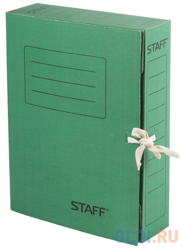Папка архивная с завязками, микрогофрокартон, 75 мм, до 700 листов, зеленая, STAFF, 128871 папка регистратор 80 мм эконом без покрытия